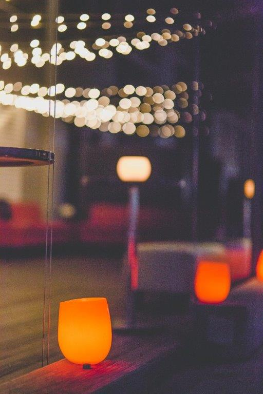 Candles and fairly light ambiance outside at Morso Events